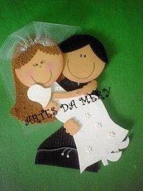 Ceci EuQfiz: Lembrancinha - casal de noivos com moldes