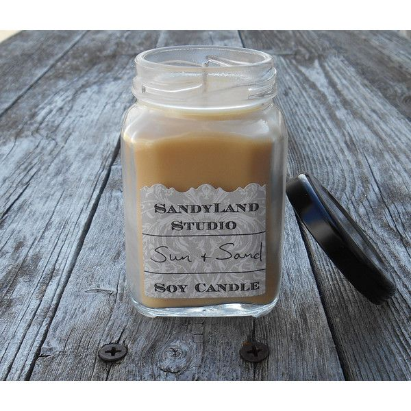 Sun and Sand Soy Candle Square Victorian Jar 100% Soy Eco Wick ($5.75) found on Polyvore featuring home, home decor, candles & candleholders, square candles, square jar, fragrance candles, black home decor and lidded jars