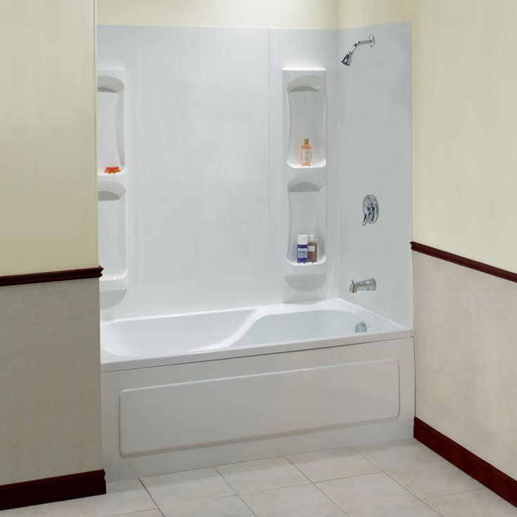 Stunning White Acrylic Wall And Soaking Tub Also Great