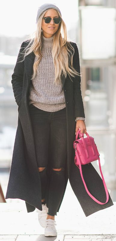 Long coat trend + distressed denim + knitwear + Janni Deler + awesome style + Rocking sneakers + cute grey beanie + Janni   Coat/Jeans: Gina Tricot, Sweater: Niy Trend by Janni, Bag: Phillip Lim, Shoes: Senso.