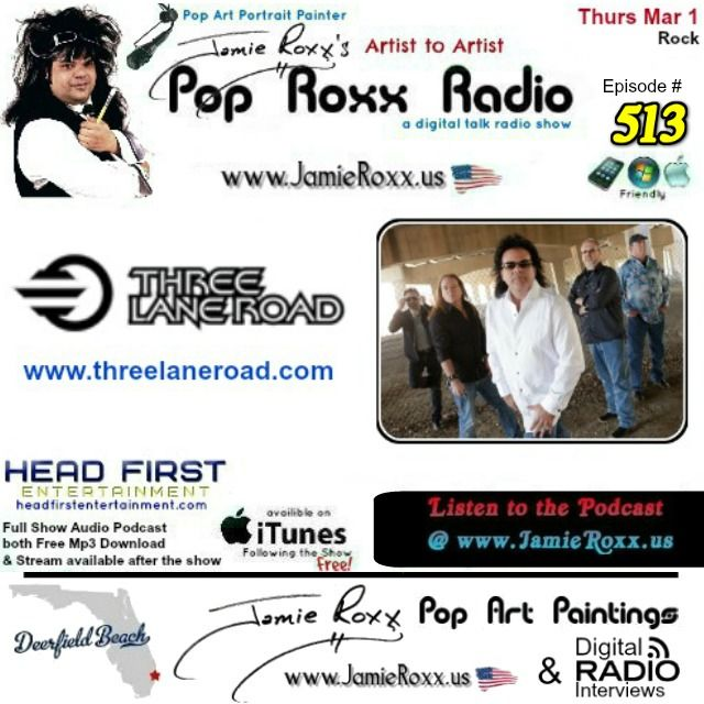 📣 Tonight's Episode (#513) of the Pop Roxx Radio Talk Show with featured Guests Three Lane Road (#Rock) Has now been converted to a Podcast and is now archived at my website (www.JamieRoxx.us), BlogTalkRadio (http://tobtr.com/s/9842337) and up for FREE on #iTunes