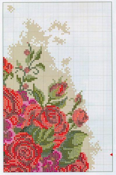 Вышивка крестом букет роз в вазе. Схема цветочного натюрморта | Я Хозяйка