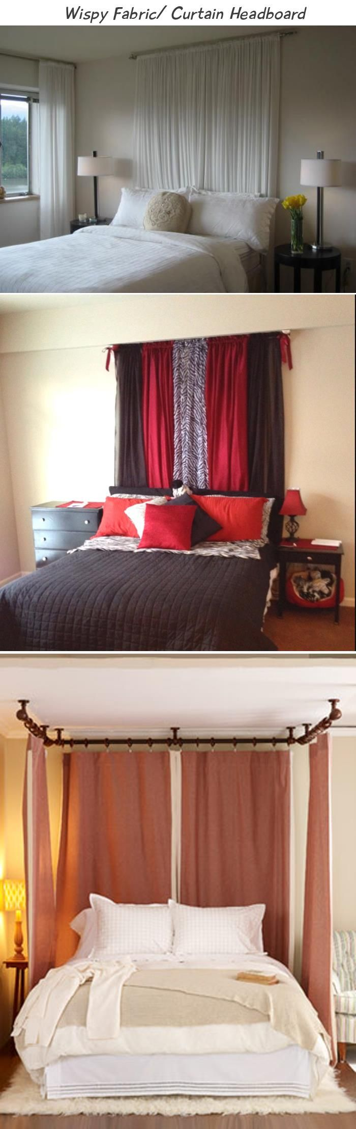 Whispy Fabric or curtain headboard