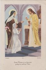 IMAGE PIEUSE/HOLY CARD SANTINI/STE THERESE-JESUS-COMMUNIANTE-CALICE-HOSTIE