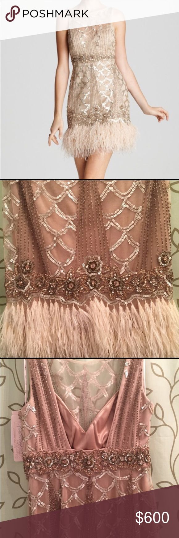 NWT beaded, feathered Sue Wong Gatsby Dress Sz 2, Gorgeous champagne Sue Wong dress, Gatsby inspired, with intricate beading throughout and ostrich feathers at the hem. Mini-length and form-fitting. Art Deco details at the neck. Never worn, new with tags. Sue Wong Dresses Wedding
