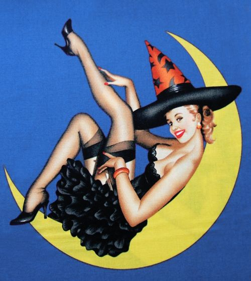 gravesandghouls:  Retro Halloween Pin-up Frabric