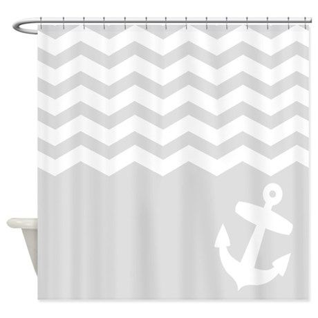 Nautical Gray chevron anchor Shower Curtain on CafePress.com