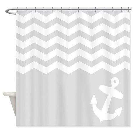 Nautical Gray chevron anchor Shower Curtain on CafePress.com
