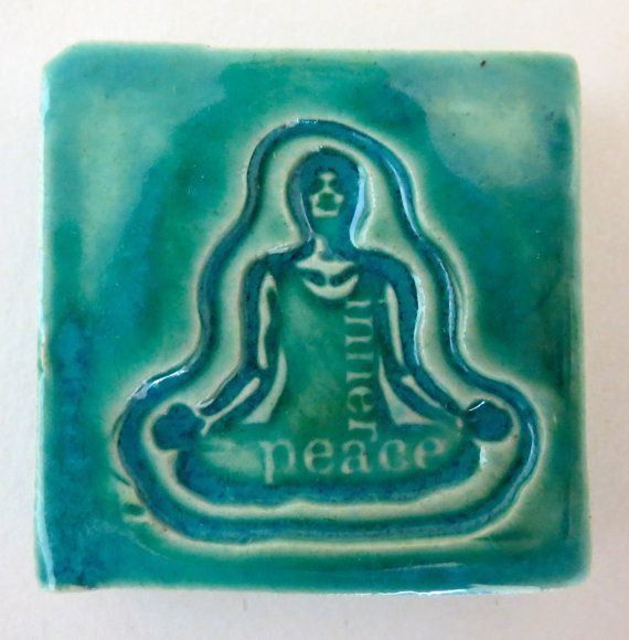 INNER PEACE YOGA  Small Ceramic Tile  Aquamarine by InnerArtPeace, $7.00Yoga Small, Tile Aquamarines, Inner Art, Ceramics Tile, Inner Peace, Peace Yoga, Art Peace, Small Ceramics