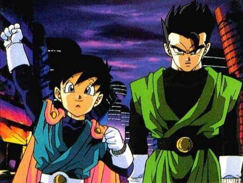 Mystic Great Saiyaman Gohan and Great Saiyaman Videl (without helmets and sunglasses).