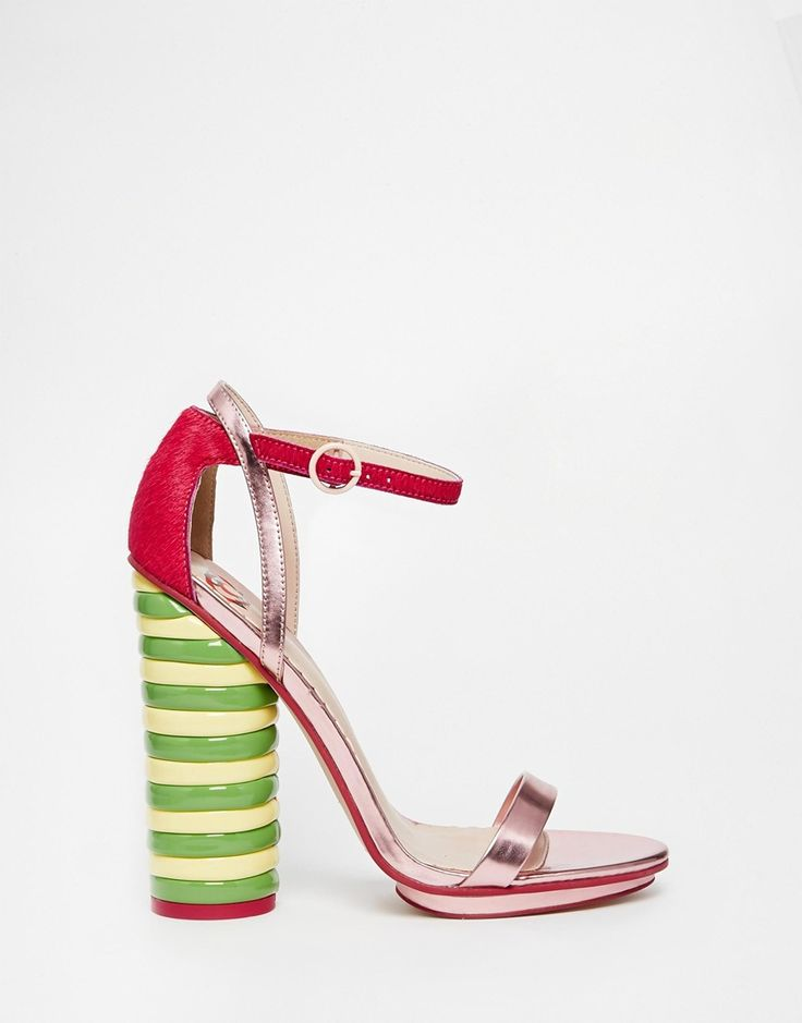 Image 2 ofASOS WALLS TWISTER Leather Mix Heeled Sandals