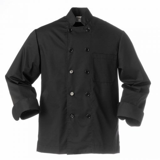 Chaquetilla de chef negra de corte camisero y cruce estrecho. Consta de un bolsillo de pecho de palastrón. La espalda es entera, sin costuras. Y los puños especiales para dobladillo. #chaquetillas #negra #cocina #chefs #uniforme #cocinero