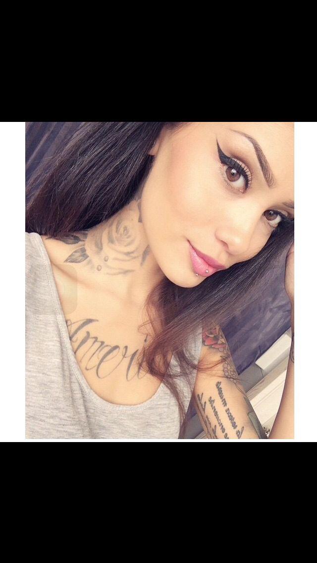 Side neck tattoo