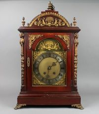 "Lot 528 A Victorian striking bracket clock, the 7 1/2"" arch brassed dial with gilt metal spandrels and silvered chapter ring, contained in an arched mahogany and metal mounted case with gilt metal embellishments, the movement striking on 2 gongs, 24"" x 13 1/2"" x 8  1/2"", est £400-800"
