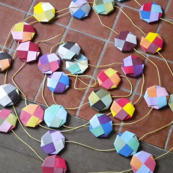 Bright and colorful paper garland by papermodeHome on Etsy