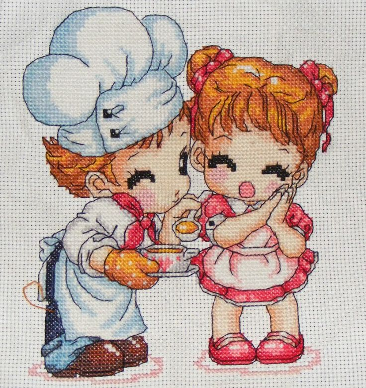 Korean style cartoon stitching - cute cook and girl
