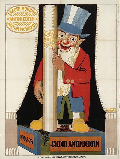 Jacobi Monopol Antinicotin 100 3/75 Zigarettenpapier Zigarettenhülsen Entwurf Gustav Marisch, Österreich ca. 1920. Druck Gesellschaft für Graphische Industrie, Wien.