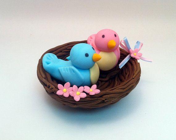 Cake With Fondant Bird : Bird Wedding Cake Topper Fondant Cake Decorations love ...