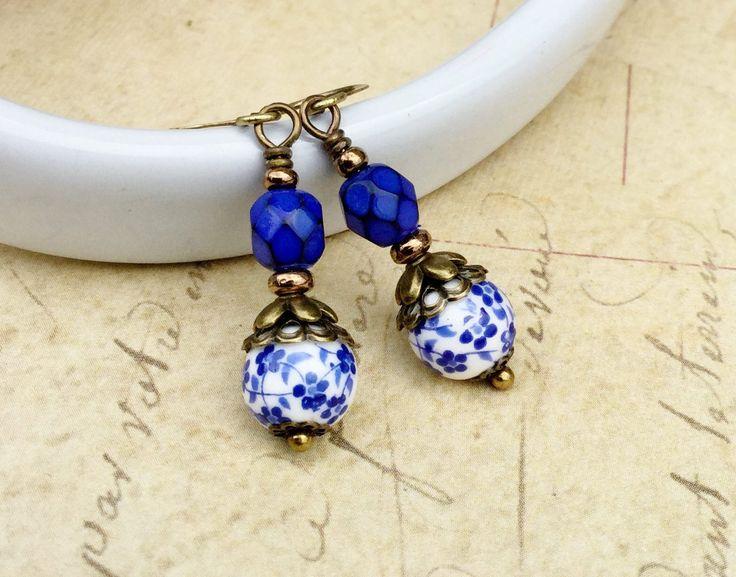 Blue Earrings, Cobalt Blue Earrings, Porcelain Flower Earrings, Blue Flower Earrings, Czech Glass Beads, Victorian Earrings, Unique Earrings by SmockandStone on Etsy https://www.etsy.com/listing/555121950/blue-earrings-cobalt-blue-earrings