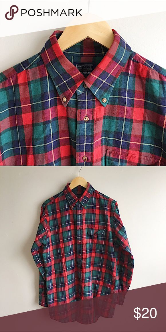 *LANDS END* Men's Long Flannel Shirt Great casual flannel shirt in like-new condition. Pair it with some skinny jeans and boots for that iconic hipster-lumberjack look. Cotton and wool blend. Machine washable. Longer length. Open to offers! Lands' End Shirts Casual Button Down Shirts
