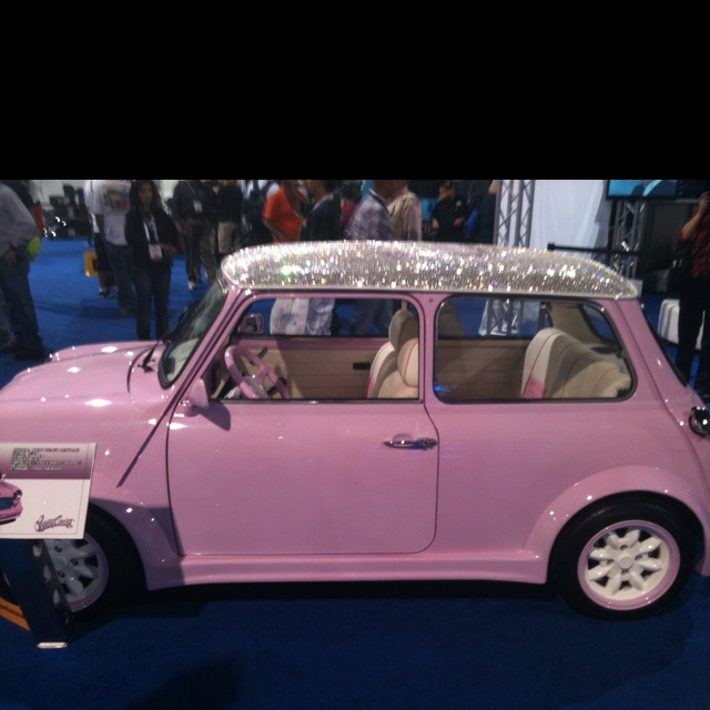 Sparkle roof on a pink car! I'm in love!