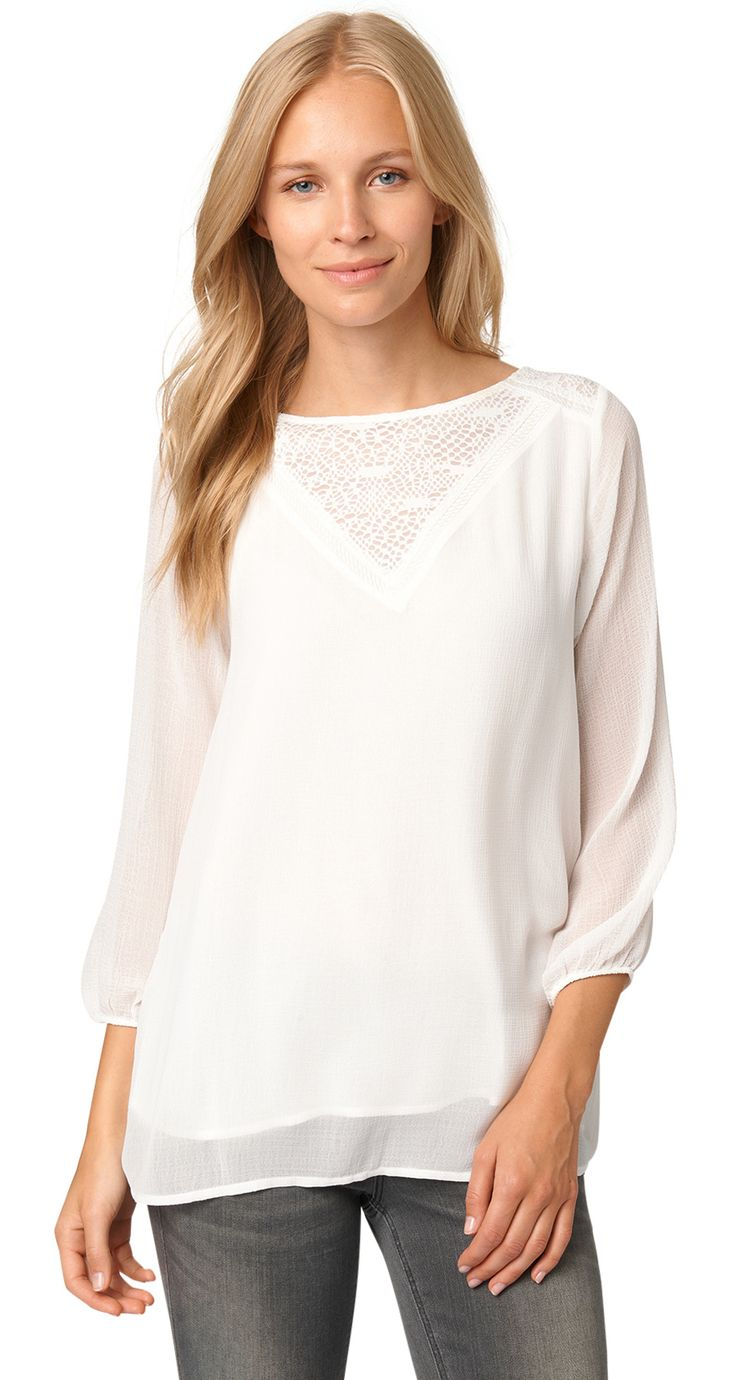 Chiffon blouse with lace - lovely blouse with lace detail from TOM TAILOR