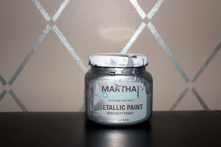 metallic silver wall paint | Breezy Pink Daisies: My Stenciled Wall - Harlequin Trellis