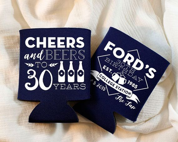 Birthday Party Cheers Party Favors 30th Birthday Cheers to 30 Years Custom Party Favors Birthday Party Gift Cheers and Beers 1398 by SipHipHooray