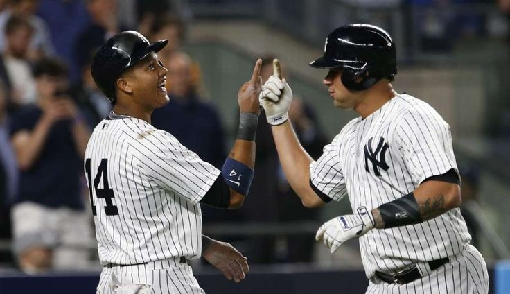 10 most shocking MLB developments so far  -  June 16, 2017:     5. Yankees well ahead of schedule  -     Yankees catcher Gary Sanchez (24) and New York Yankees second baseman Starlin Castro (14) react after scoring in the fifth inning on home run by Sanchez at Yankee Stadium.