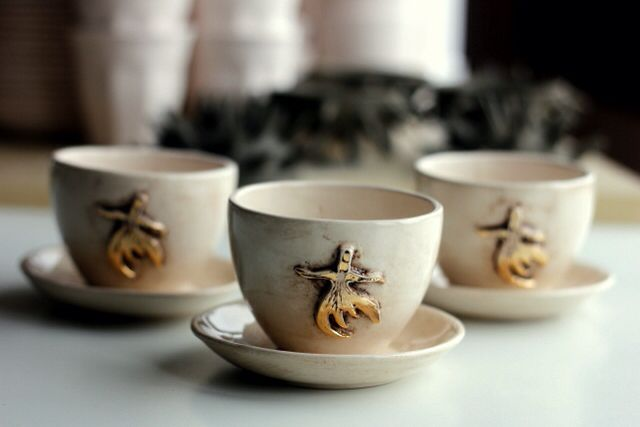 """Ceramic handmade coffe cup """"whirling dervish"""""""