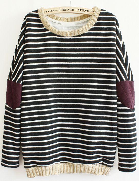 Black Long Sleeve Striped Elbow Patch Sweatshirt - Fashion Clothing, Latest Street Fashion At Abaday.com