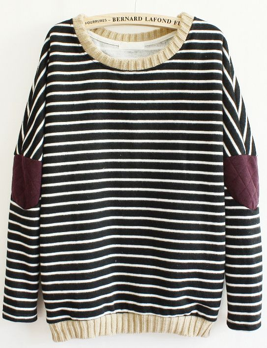 Black Long Sleeve Striped Elbow Patch Sweatshirt - Fashion Clothing, Latest Street Fashion At Abaday.com
