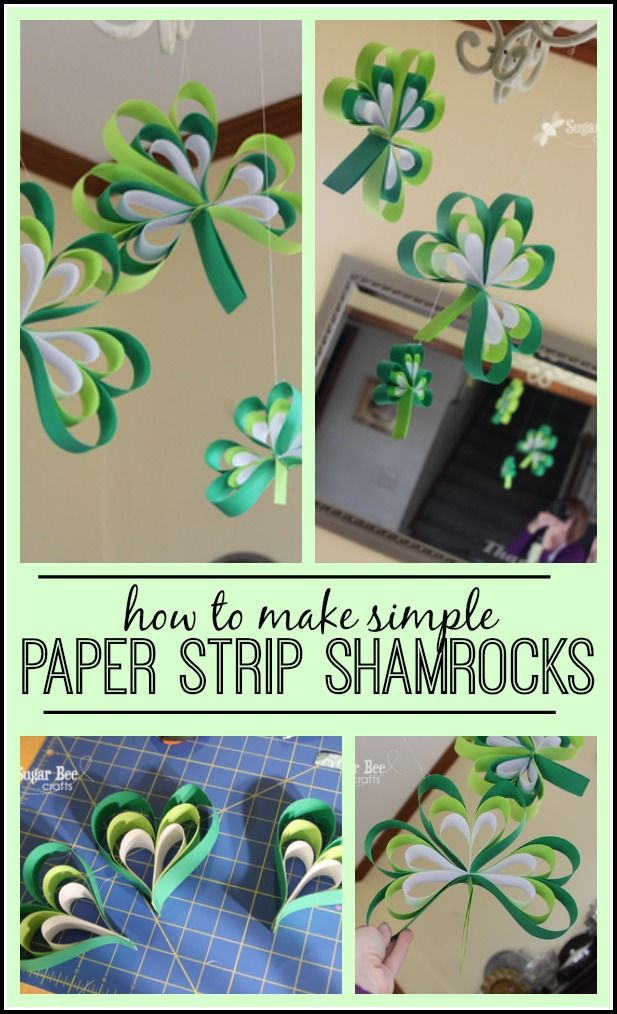 how to make these shamrocks out of just paper - - so easy, but so fun for St. Patrick's Day - - Paper Strip Shamrocks ~ Sugar Bee Crafts