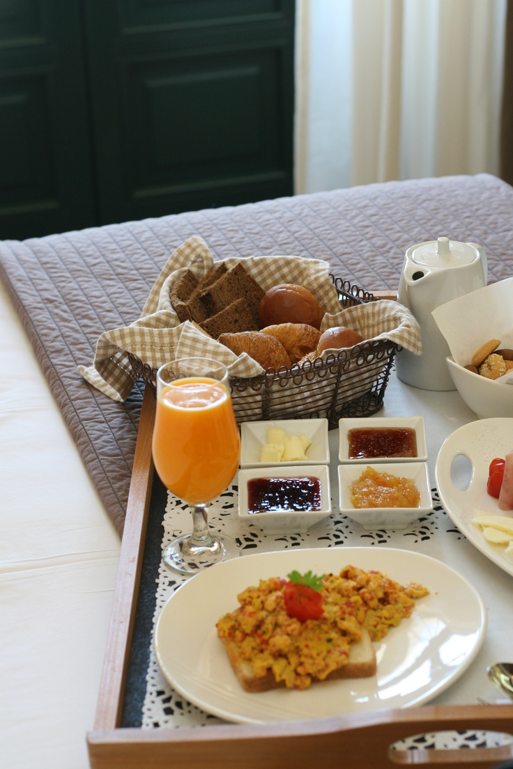 Breakfast in bed in Batsi-Andros.  at Krinos Suites Hotel #greekbreakfast #krinossuiteshotel #krinoshotel #andros #batsi #Cyclades #Greece #visitgreece #holidays #achla #micraagglia #micraanglia