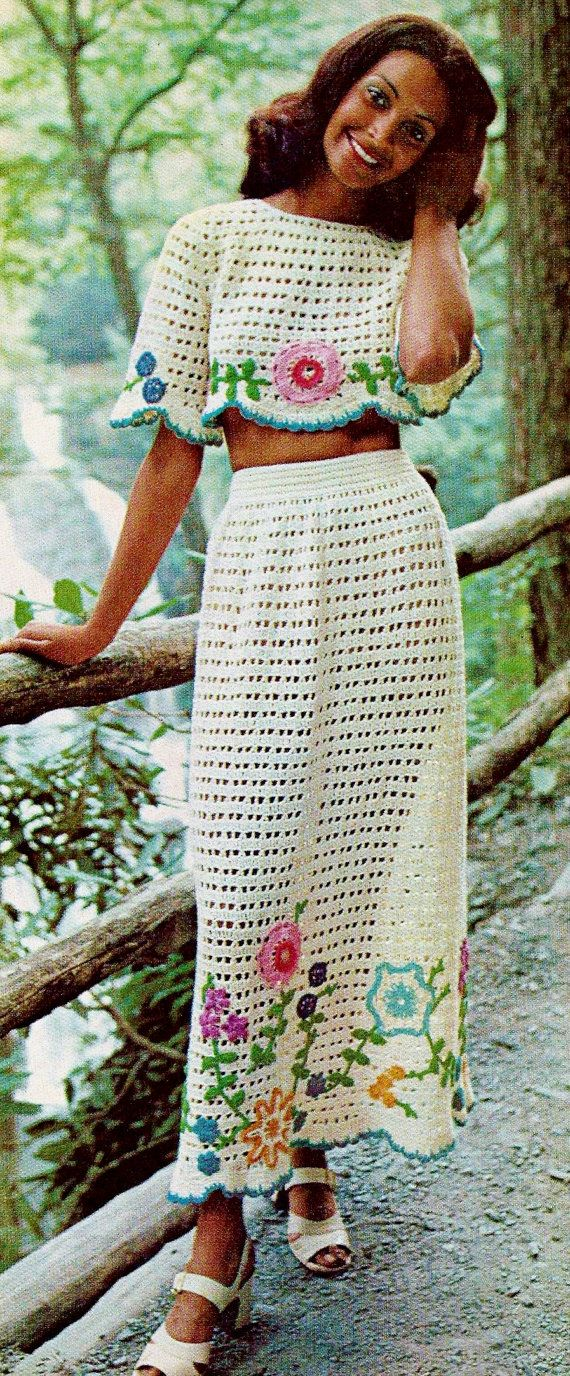Flower Embellished Long Crocheted Skirt or Swimsuit Cover-up and Matching Midriff Top Set Vintage PDF Crochet Pattern