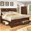 1192 Queen Transitional Panel Bed with Side and Footboard Storage Drawers by Lifestyle - L Fish - Headboard & Footboard Indianapolis, Greenwood, Greenfield, Fishers, Noblesville, Carmel, Avon, Plainfield, IN