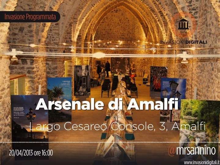 L'immagine-evento di #invasionidigitali all'Arsenale di #Amalfi