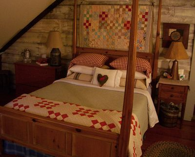 Primitive Bedroom...with old quilts.