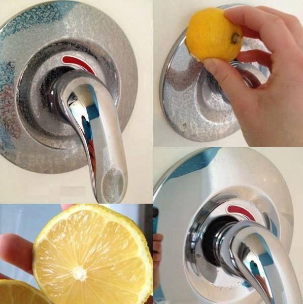 Para limpar metais: O limão tem ação polidora em metais como cobre, latão e cromo. Para potencializar o resultado, coloque um pouco de sal sobre o limão, esfoliando o metal e dando ainda mais brilho.