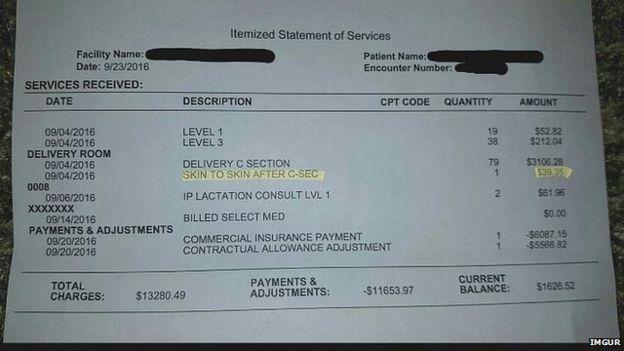 Hospital bill posted on Imgur