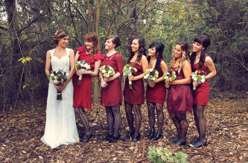 Pattern tights for the bridesmaids? Adorable.