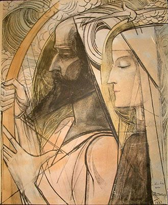 Jean Theodoor Toorop (1858 – 1928). Harpspeler / Harp player,  1921,  Pencil and crayon on paper.