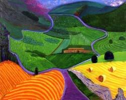 North Yorkshire by David Hockney;  Dit is een landschap met felle kleuren.  Je laat de kinderen een muziekstuk horen. Ze moeten zich een landschap verbeelden en het landschap tekenen. Ze moeten de kleuren aanpassen aan het gevoel dat ze hebben bij het landschap.