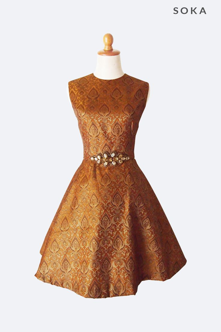 Knee Length Flared Orange Dress by SOKA