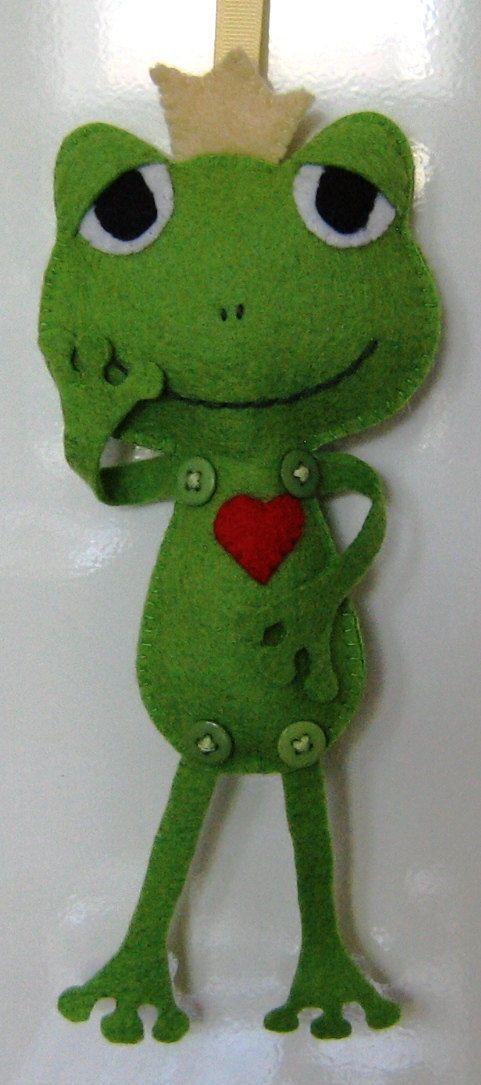 Felt frog ornament - prince charming | eBay