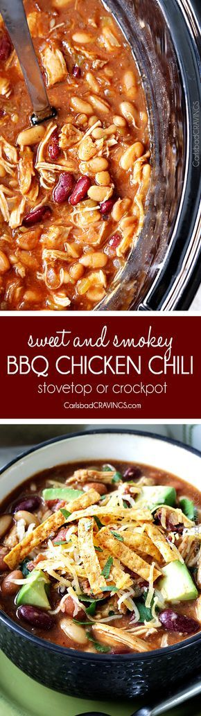 this Sweet and Smokey BBQ Chicken Chili is so good my mom made it for Christmas! Easy to make in the crockpot or stovetop then pile high with al your favorite toppings!. This sounds delish. Will be trying soon! via @carlsbadcraving