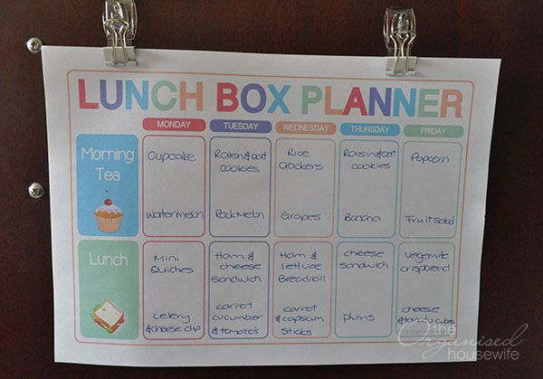 Planning food for lunch boxes is just as important as planning dinners » The Organised Housewife