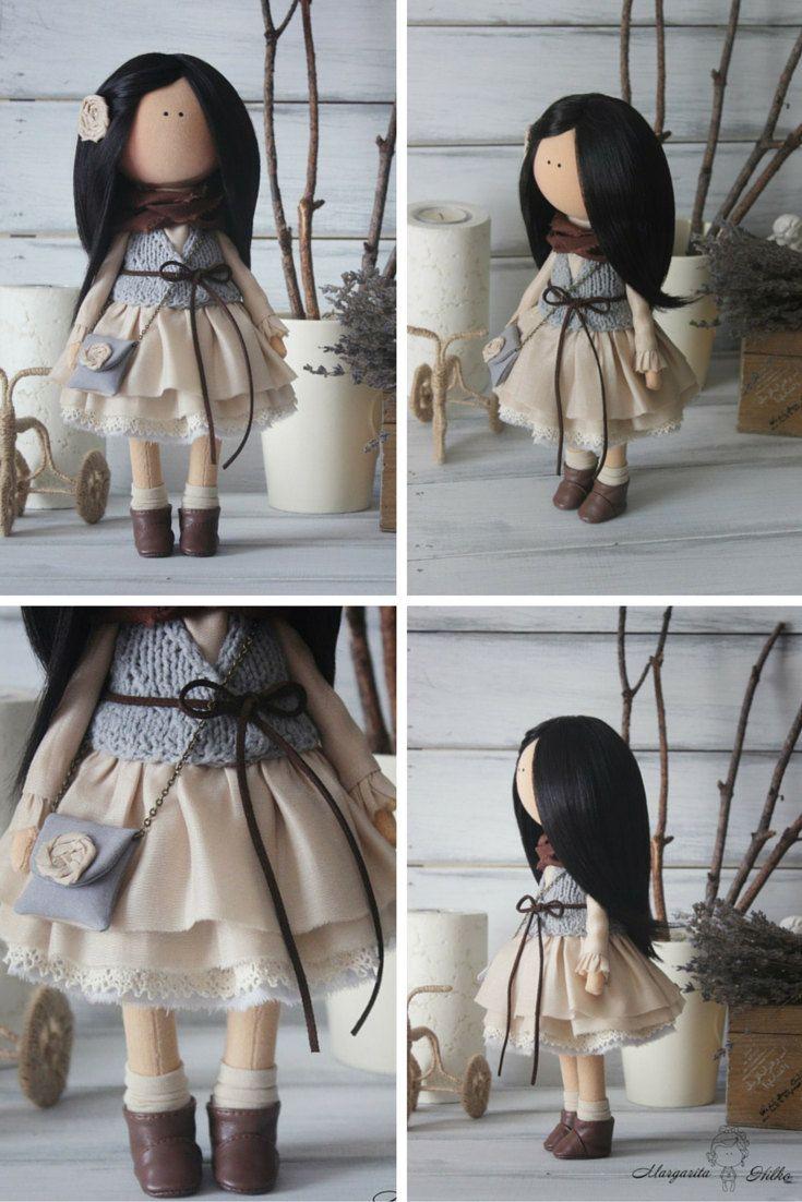 Art doll Handmade brunette grey Soft doll by AnnKirillartPlace