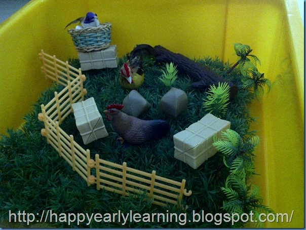 sensory bin for letter d week - birds