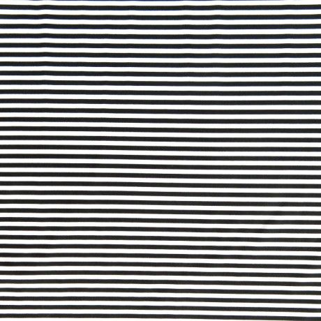 The Fabric Fairy Black and White 1/8 Inch Stripe Nylon Spandex Swimsuit Fabric